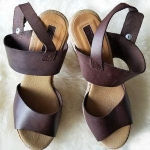 TopShop Sky High Leather Jute Sandals Platform
